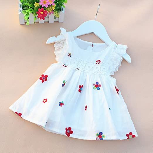 Vinjeely Toddler Girls Daily Dress Cute Floral Lace Bow Long Sleeves Hollow Ruffle Skirt
