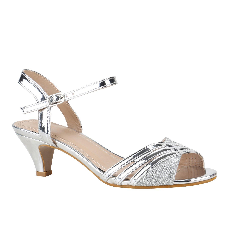 Stiefelparadies Damen Riemchensandaletten mit Pfennigabsatz Strass T-Strap Flandell Silber Lack
