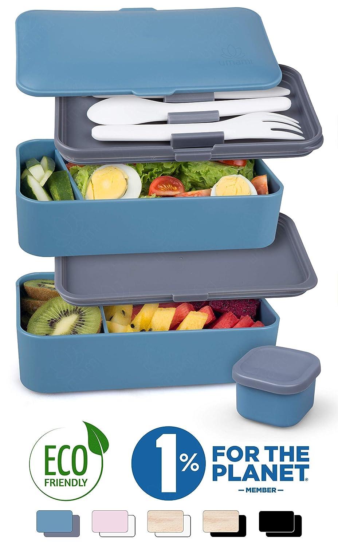UMAMI� Lunch Box Blue Denim   Porta Pranzo Ermetico 2 Scomparti e 3 Coperchi con Posate e Porta Condimento   Per Microonde e Lavastoviglie   Contenitori Alimentari Bento Box Portatile   No BPA