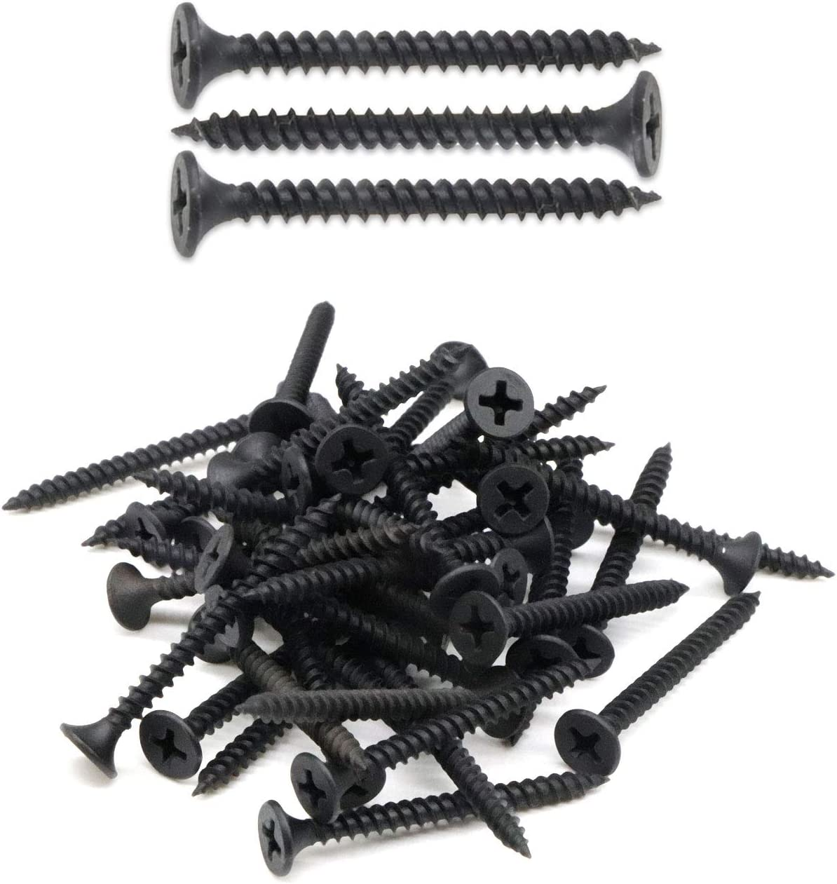 "IMScrews 50pcs #7x1-1/2"" Flat Head Phillips Drywall Screws Fine Thread Sharp Point Wood Screw Assortment Kit, Carbon Steel 1022A, Black Phosphate"