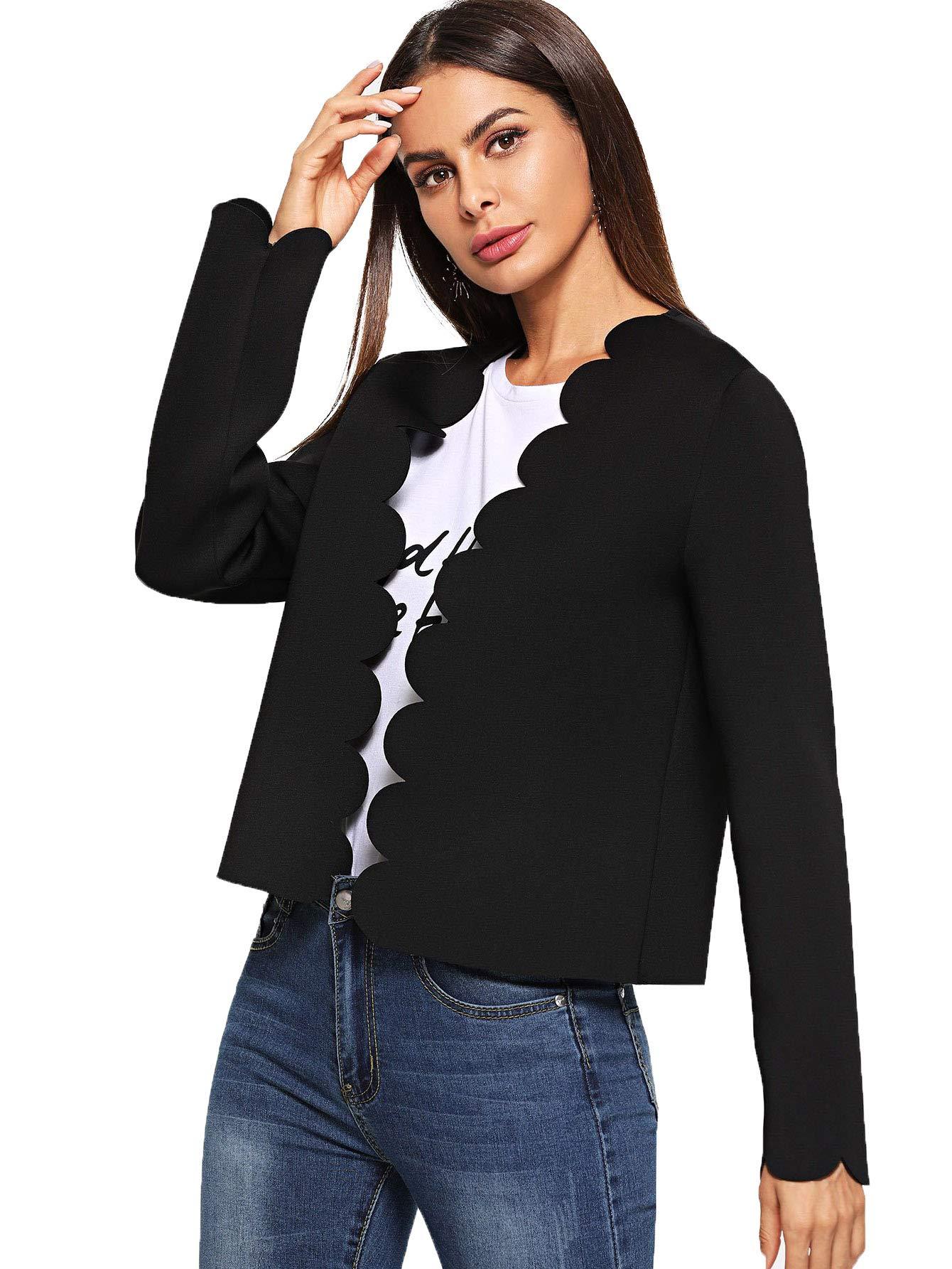 Romwe Women's Scallop Hem Casual Work Office Open Blazer Jacket Black Large by Romwe (Image #3)