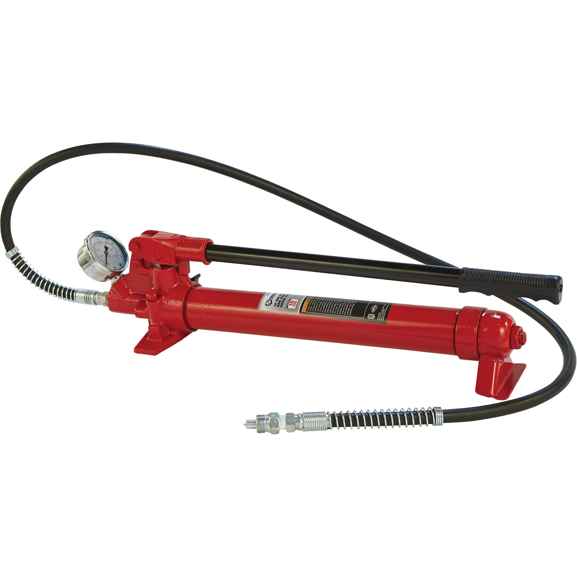Strongway Hydraulic Pump with Gauge and Hose - 10-Ton Capacity