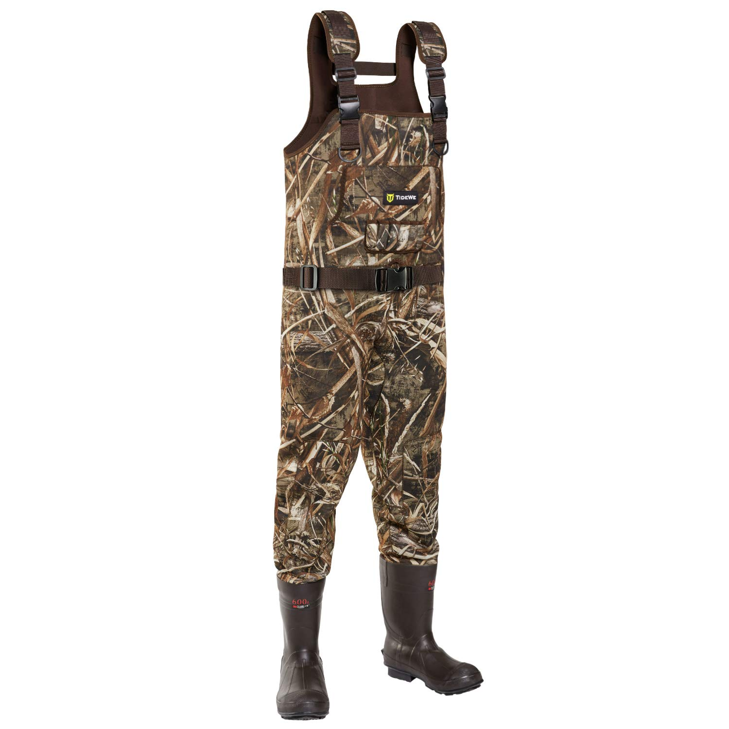 TideWe Chest Wader, Camo Hunting Wader for Men, Waterproof Cleated Neoprene Bootfoot Wader, Insulated Hunting Fishing Wader Realtree MAX5 Camo 600G 800G Insulation