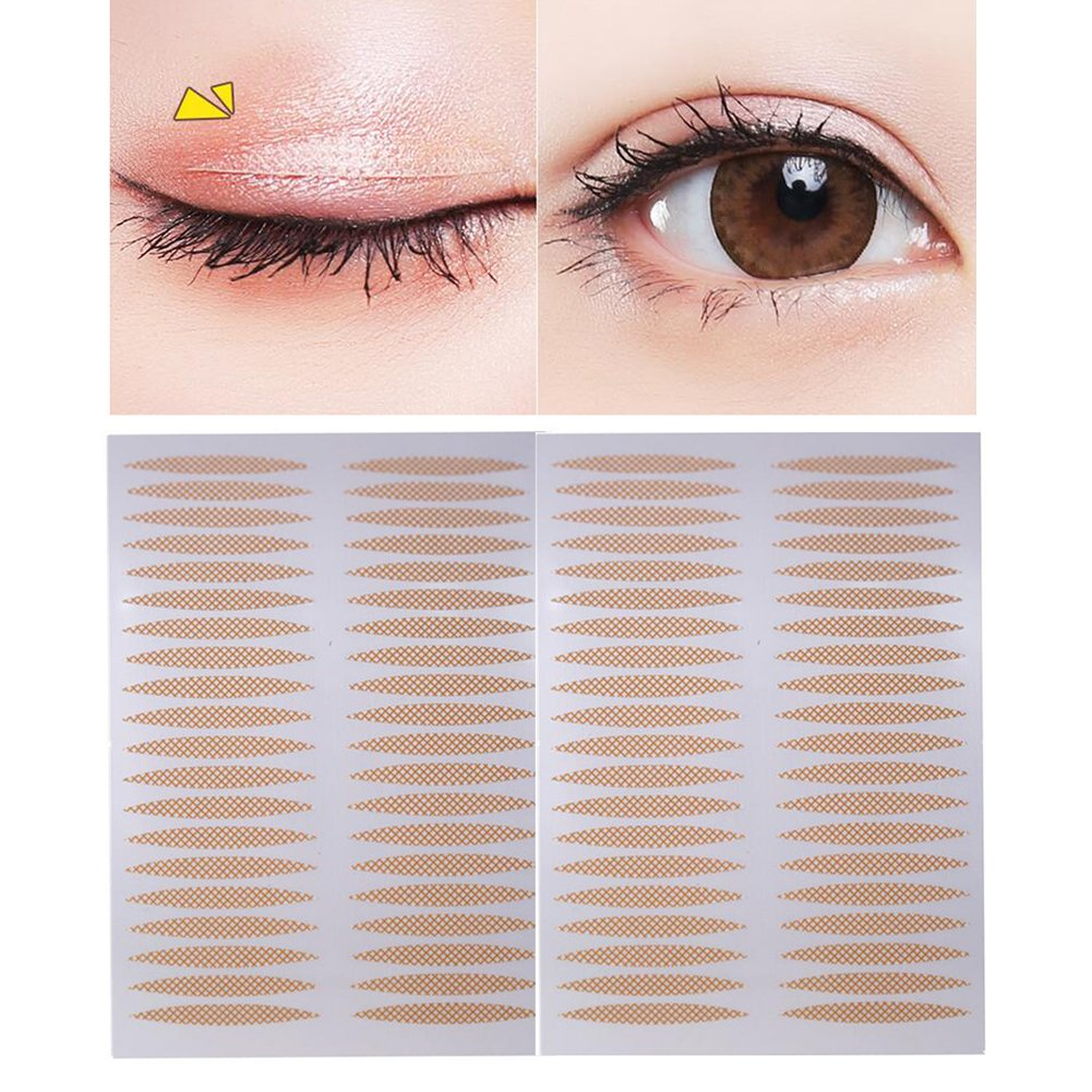 500 Pairs(1000PCS) 24mm x 3mm Nude Portable Breathable Naturally Lace Style Invisible Single Sided Double Eyelid Tape Self-Adhesive Eyelid Stickers Instant Eye Lift Strips Upstore