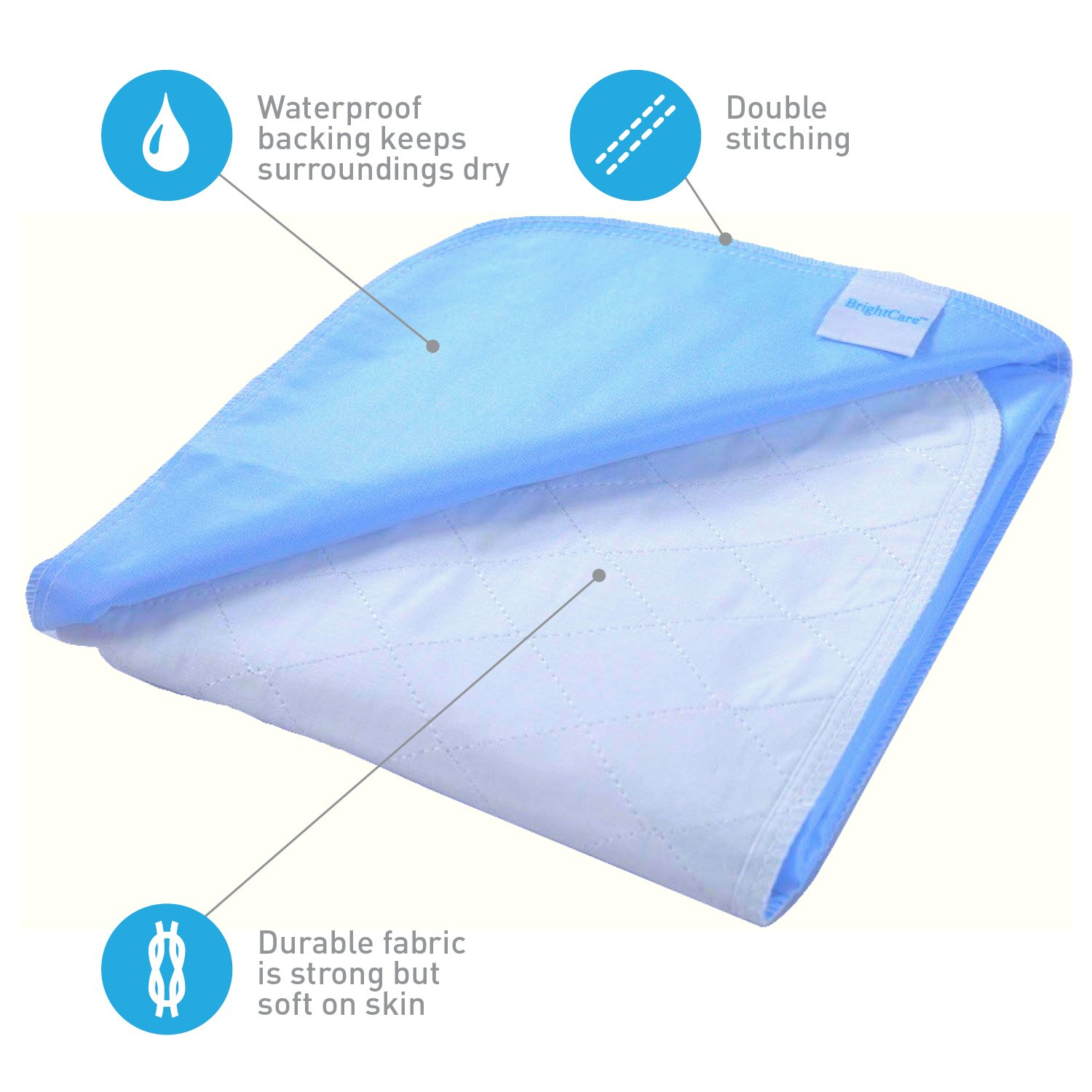 Saddle Style Absorbent Bed Pad with Tuck in sides (34Wx52L) - Waterproof and Washable 300x for Incontinence Tuckable Underpad Protection (Full and Queen) - Best for Baby, Child, Adult - Sequoia Health by Sequoia Health (Image #4)