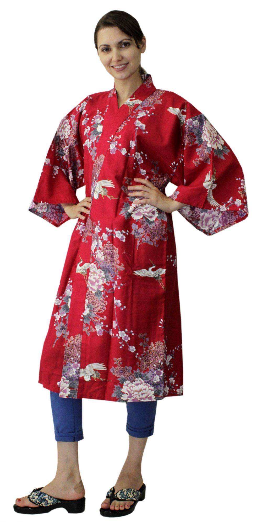 Japanese Women's Kimono Robe Happi Coat Dress Cotton Crane Peony Red