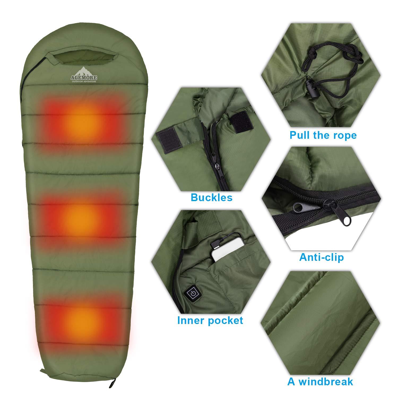 Agemore Mummy Sleeping Bag Compression Sack 3-4 Season Water Resistant Warm Camp