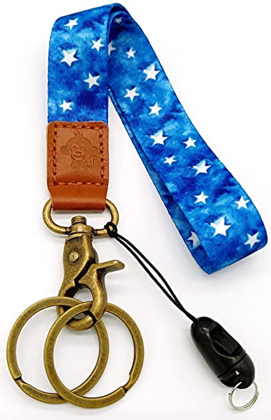 Happy Monkey Hand Wrist Lanyard Key Chain Holder/USB/Mobile Phone (Blue)