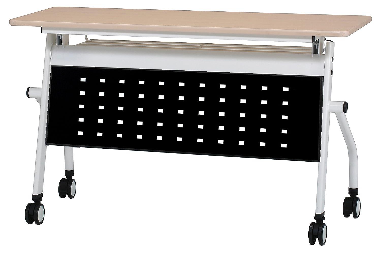 会議テーブル 跳ね上げ式 W1200×D450×H720 幕板付き スタックテーブル GD-633M (天板ナチュラル×幕板ブラック) B01BXM4ZRW 天板ナチュラル×幕板ブラック 天板ナチュラル×幕板ブラック