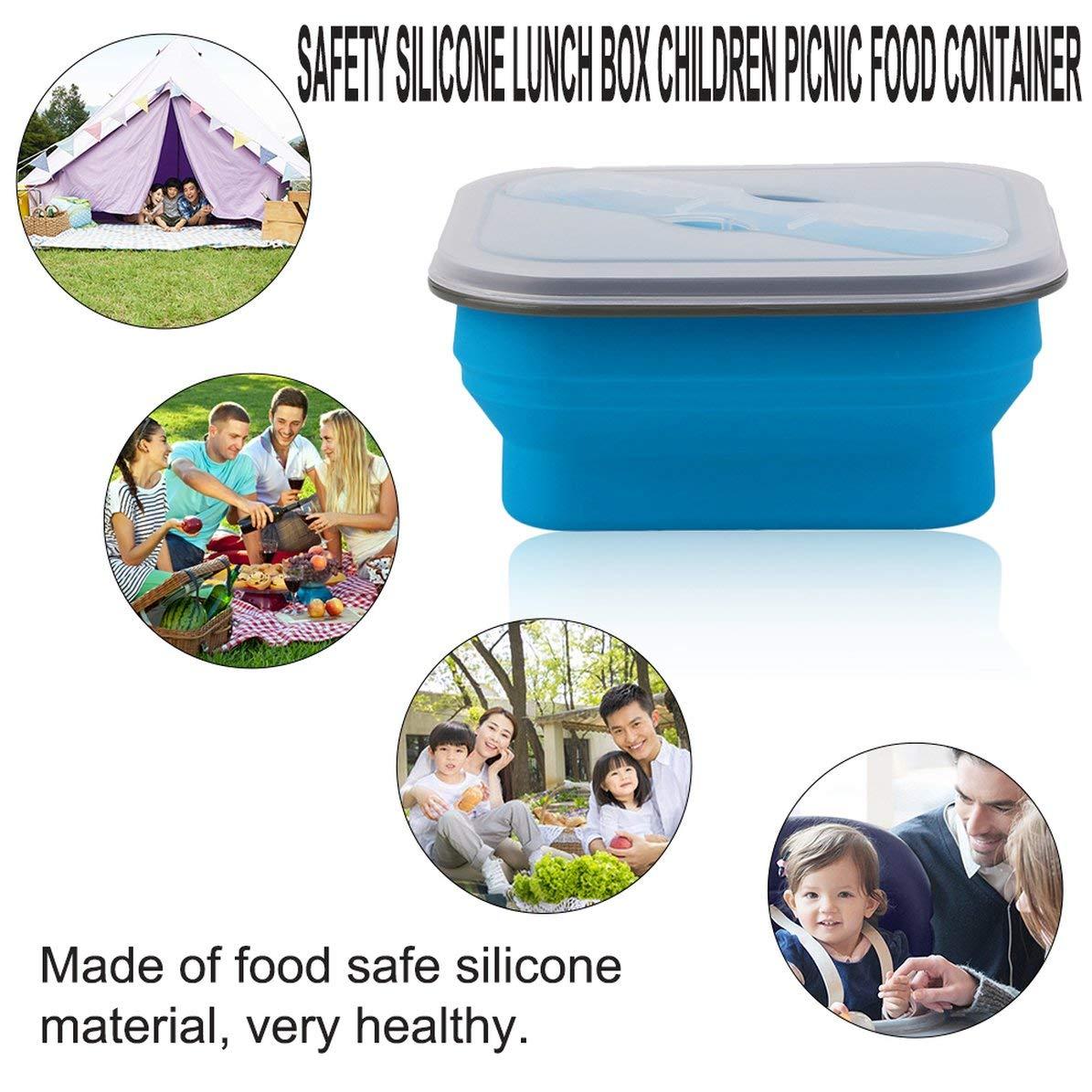 Azul, WEIWEITOE Plegable XF9112-L1 Caja de Almuerzo de Silicona de Seguridad Ni/ños Ni/ños Picnic Contenedor de Comida Cajas de Almacenamiento Lonchera port/átil