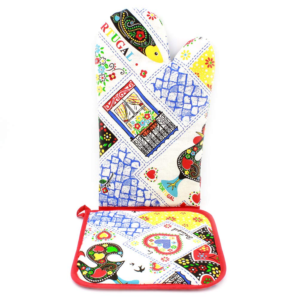 Limol 100% Cotton Oven Mitt and Pot Holder Set Made in Portugal (Red)