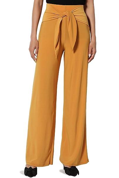 a4f750dd64ae45 TheMogan Women's Tied Wrap Elastic High Waist Flowy Wide Leg Pants Mustard S