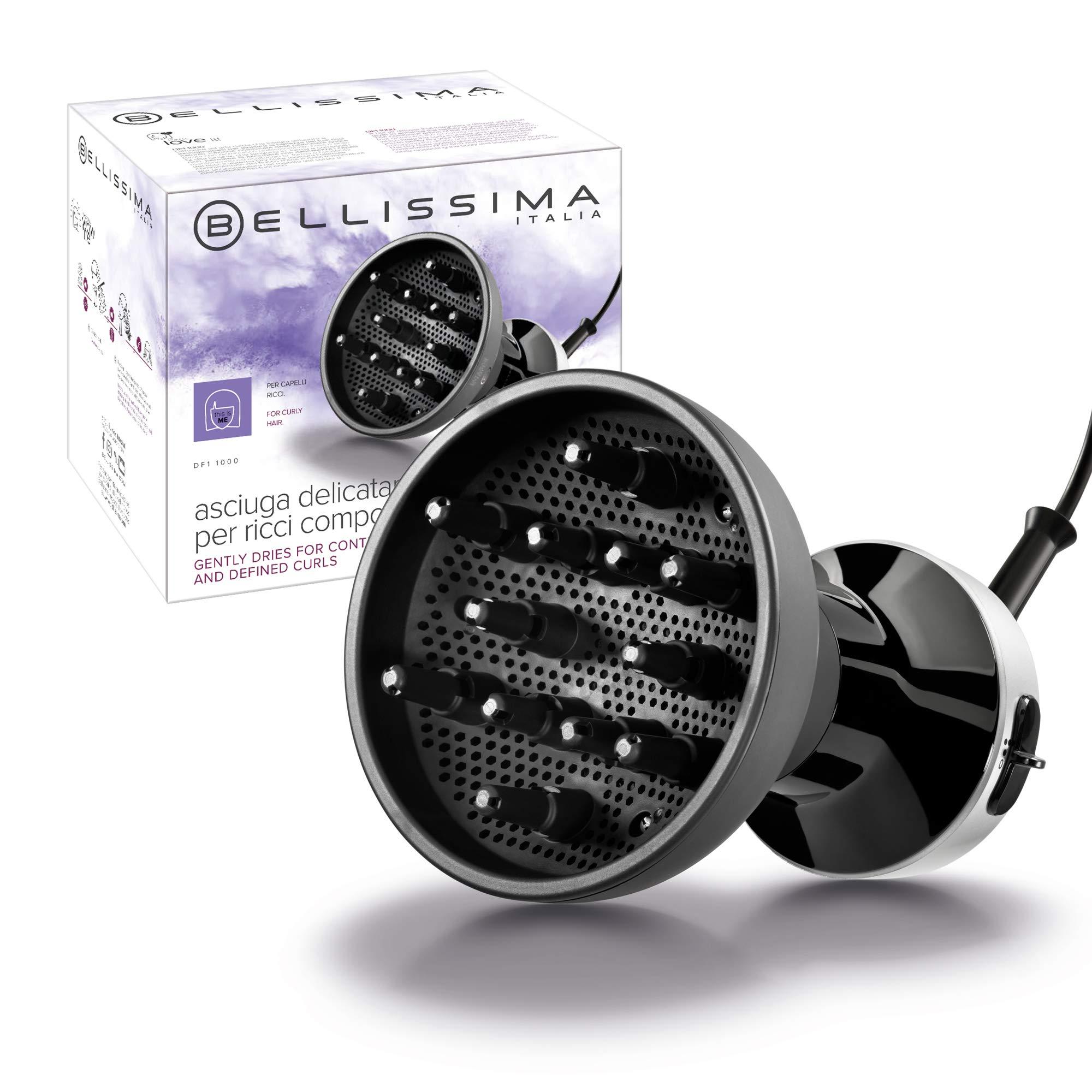 Imetec Bellissima Diffon DF1 1000 Difusor de Aire Caliente para Cabello Rizado, 700 W, 2 Combinaciones Aire,Temperatura, Secado Delicado, Rizos Definidos sin Efecto Encrespado, negro