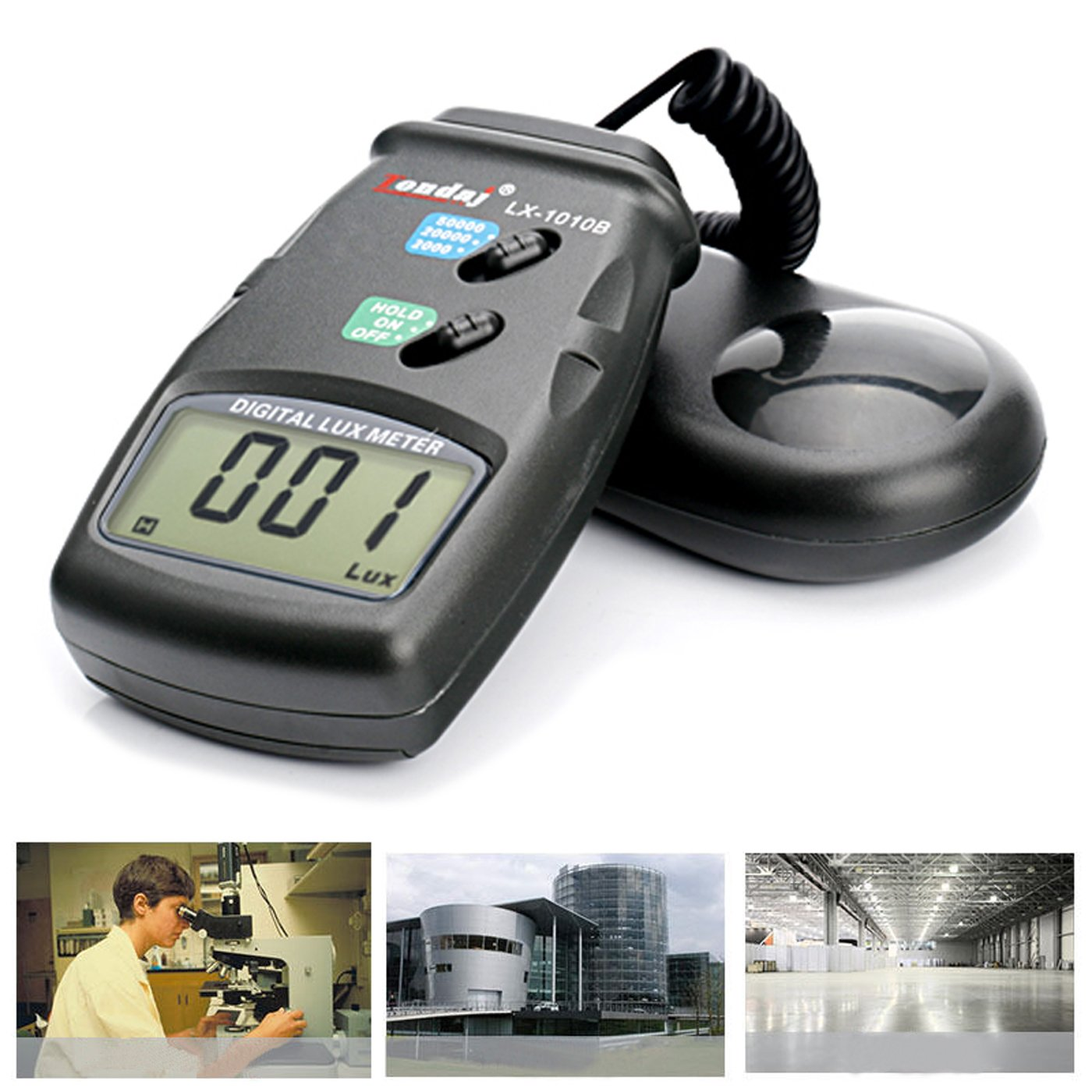 Digital Luxmeter/Digital Illuminance Light Meter with LCD Display 0.1-50,000 Lux Range by HDE