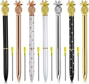 7 Pieces Pineapple Pens Ballpoint Pens - Beatiful Bling Metal Ballpoint Pen with Bonus 7pcs Ballpoint Pen Refills for Women,Co-workers,Kids,Girls
