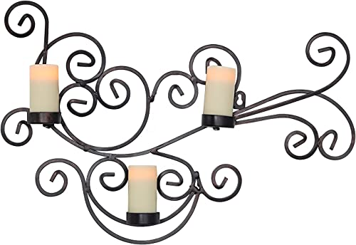 Candle Impressions Modern Bronze Scroll Candle Holder with 3 Real Wax Flameless Candles