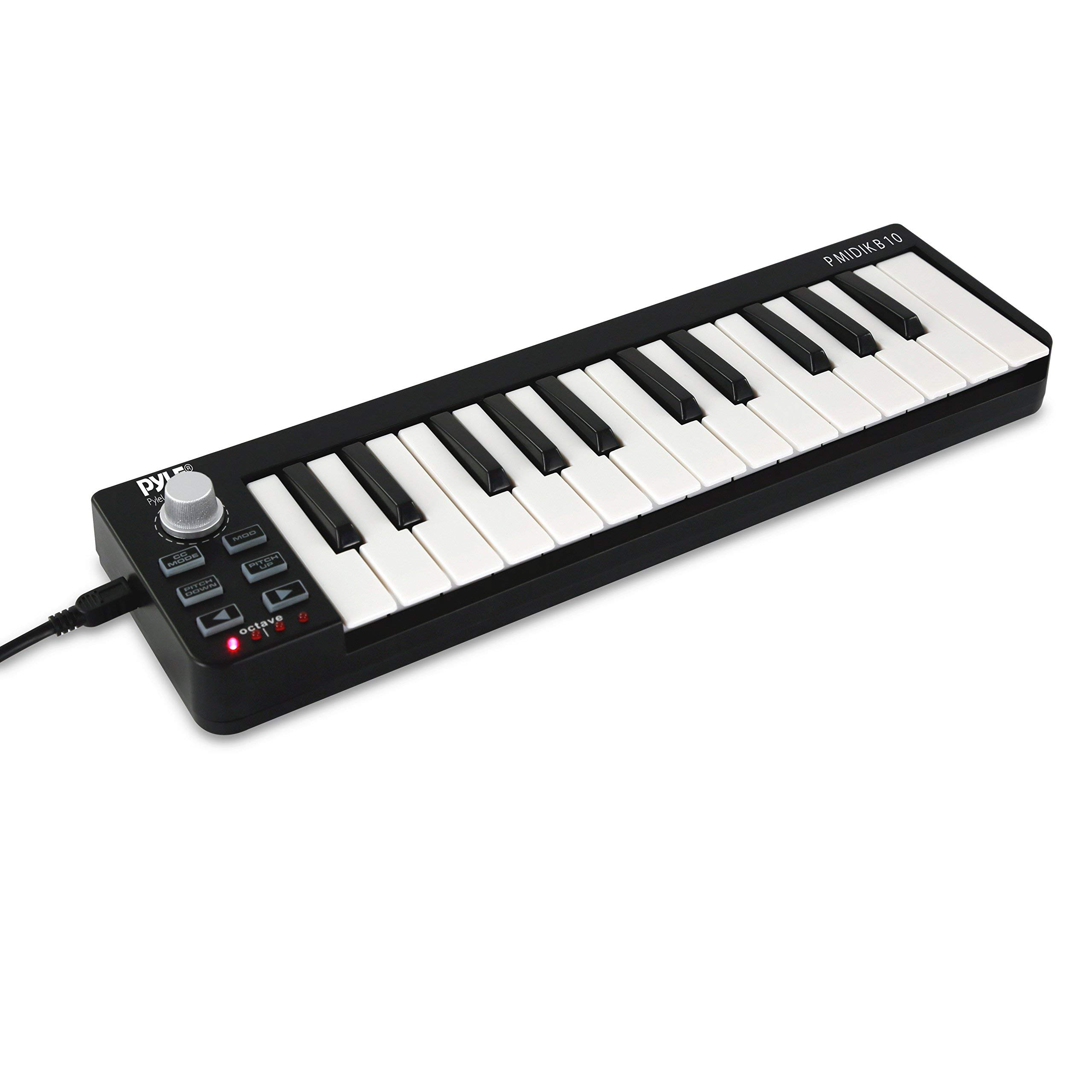 Pyle USB MIDI Keyboard Controller - 25 Key Portable Audio Recording Workstation Equipment - Hardware Buttons Control Any DAW Software for Laptop Computer Electronic Music Production - PMIDIKB10 (Renew