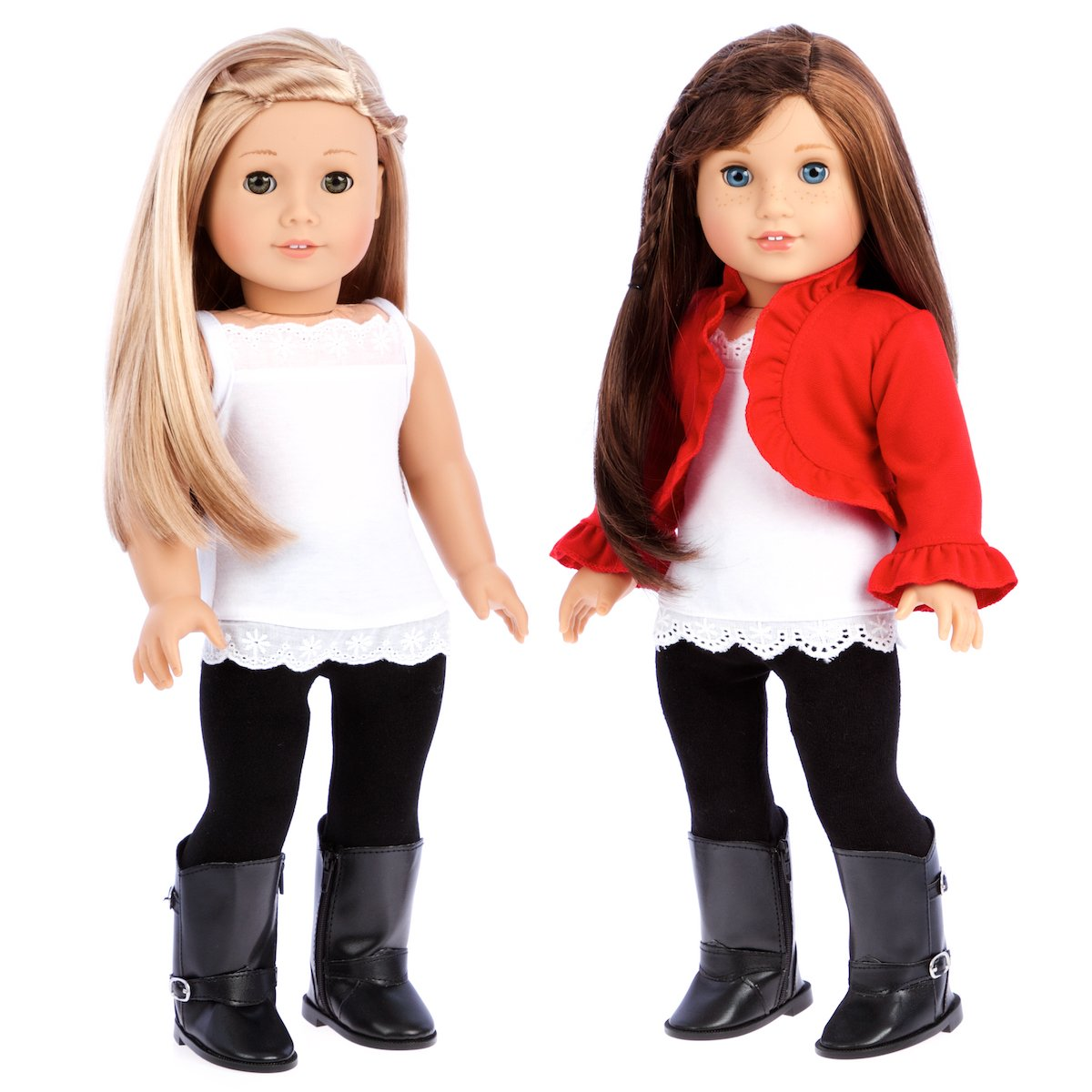 Uptown Girl - 4 piece outfit includes red ruffled jacket, white tank top, black leggings and boots - 18 inch Doll Clothes (doll not included) DreamWorld Collections DWC-1227