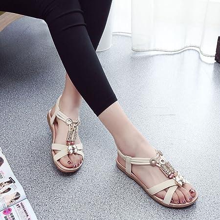 Zapatos Mujer Verano,LANSKIRT Sandalias y Chanclas para Mujeres Calzado Moda Mujer Boho de Cuero Planas Chanclas de Fiesta