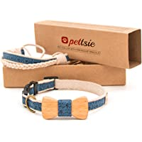Pettsie Matching Dog Collar Bow Tie & Owner Friendship Bracelet, Durable Hemp for Extra Safety, 3 Easy Adjustable Sizes…