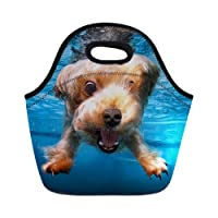 Mumeson Fun Poodle Pattern Neoprene Lunch Tote Bag Print Insulated Handbag Lunch Box for Office School