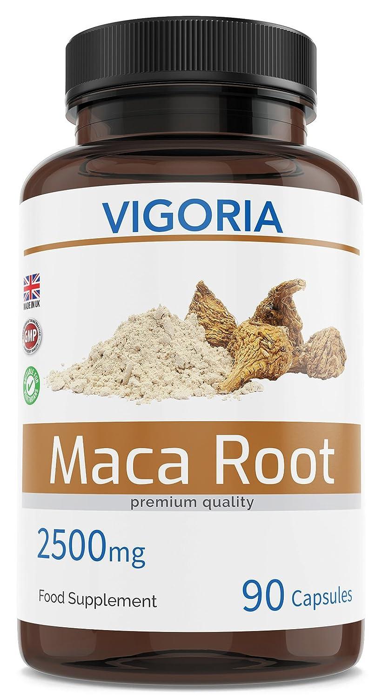 Maca peruana - 2500 mg 90 cápsulas para 3 meses - Extracto natural 10: 1 de polvo de pura raíz de maca andina - Mejora los niveles de energía, resistencia, ...