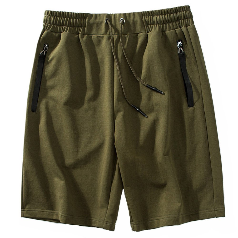 Rdruko Men's Casual Sports Shorts Cotton Gym Workout Athletic Shorts with Pockets(01Green, US XXL)