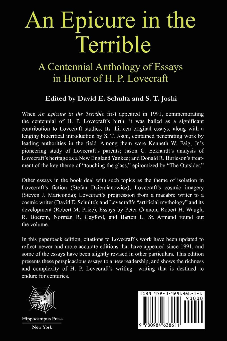 amazon com an epicure in the terrible a centennial anthology of amazon com an epicure in the terrible a centennial anthology of essays in honor of h p lovecraft 9780984638611 david e schultz s t joshi books