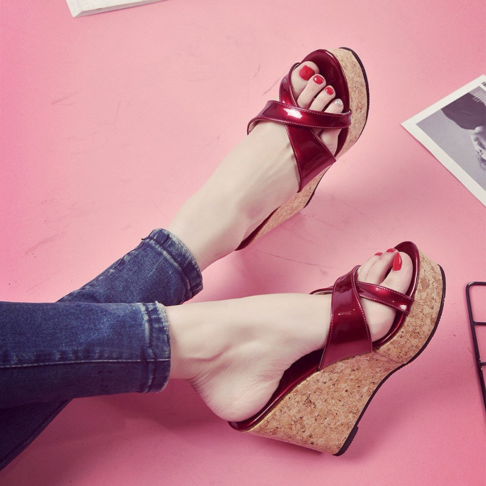 Clearance Sale High Heels For Women,Farjing Fashion Summer Women Thick Bottom Slope And Peep Toe Casual Sandals High Heels(US:5,Red )