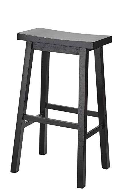 Amazoncom Pj Wood 29 Inch Saddle Seat Counter Stool Black