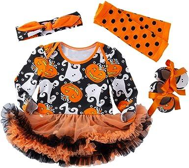 Halloween Pumpkin Print Orange Long Sleeves Bodysuit Girl Baby Dress NB-18M