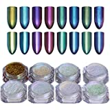 Born Pretty 8stk/set Schimmer Nagel Puder Chrom Pigment Nail Glitter Chamäleon Pulver