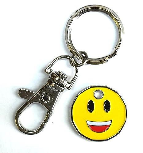 HARTS 1 Unidad Nueva Forma 1 Moneda Carrito llaveros llaveros Supermarket Locker, Smile Emoji