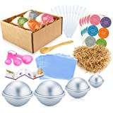 Caydo 78 Pieces DIY Soap Bath Bomb Mold Set with Instructions, 3 Size DIY Metal Bath Bomb Molds, Eyedropper Tools, Gauge Spoon Set, Shrink Wrap Bags, Hand Made Stickers for Crafting Your Own Fizzies