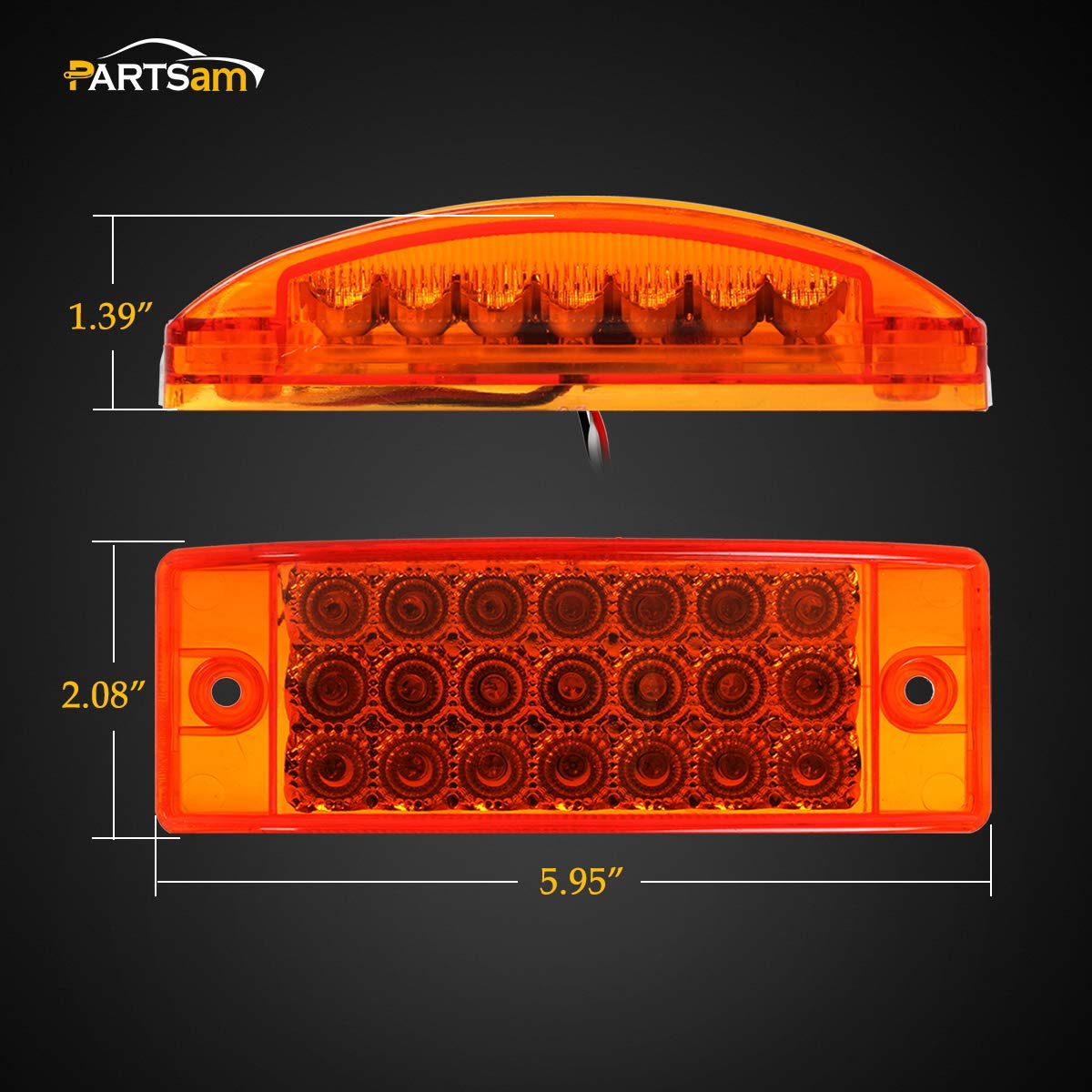 Partsam 2pcs 6 Amber Led Rectangle Tail Stop Marker 1965 Chevelle Wiring Diagram For Lights Light Trailer Truck Rv 3 Wires 21led 6x2 Rectangular Clearance