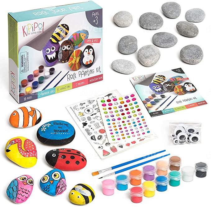 Stone Rock Painting Kit Paint Your Own Metallic Stones Complete Kit Plus Book