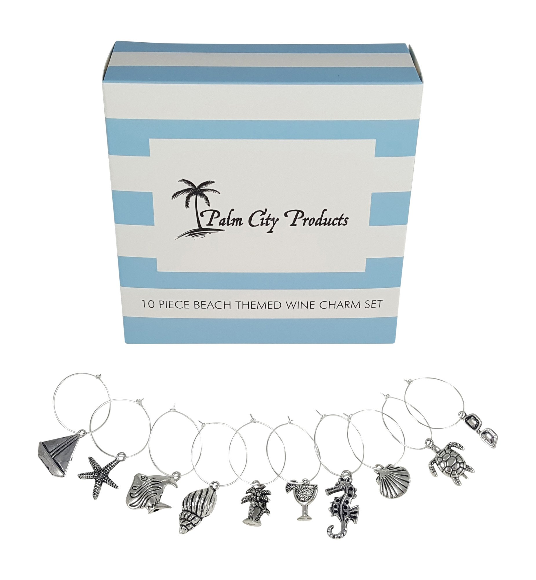 Palm City Products 10 Piece Beach Themed Wine Charm Set by Palm City Products