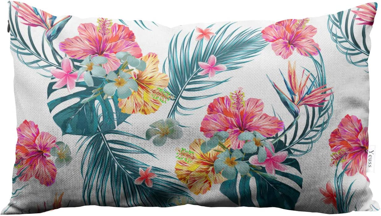 Yeuss Pillow Cover Hawaiian Style Spring and Summer Tropical, Palm Leaves, Jungle Leaves, Hibiscus Hidden Zipper Home Decorative Rectangle Throw Pillow Cover Cushion Case Boudoir 12
