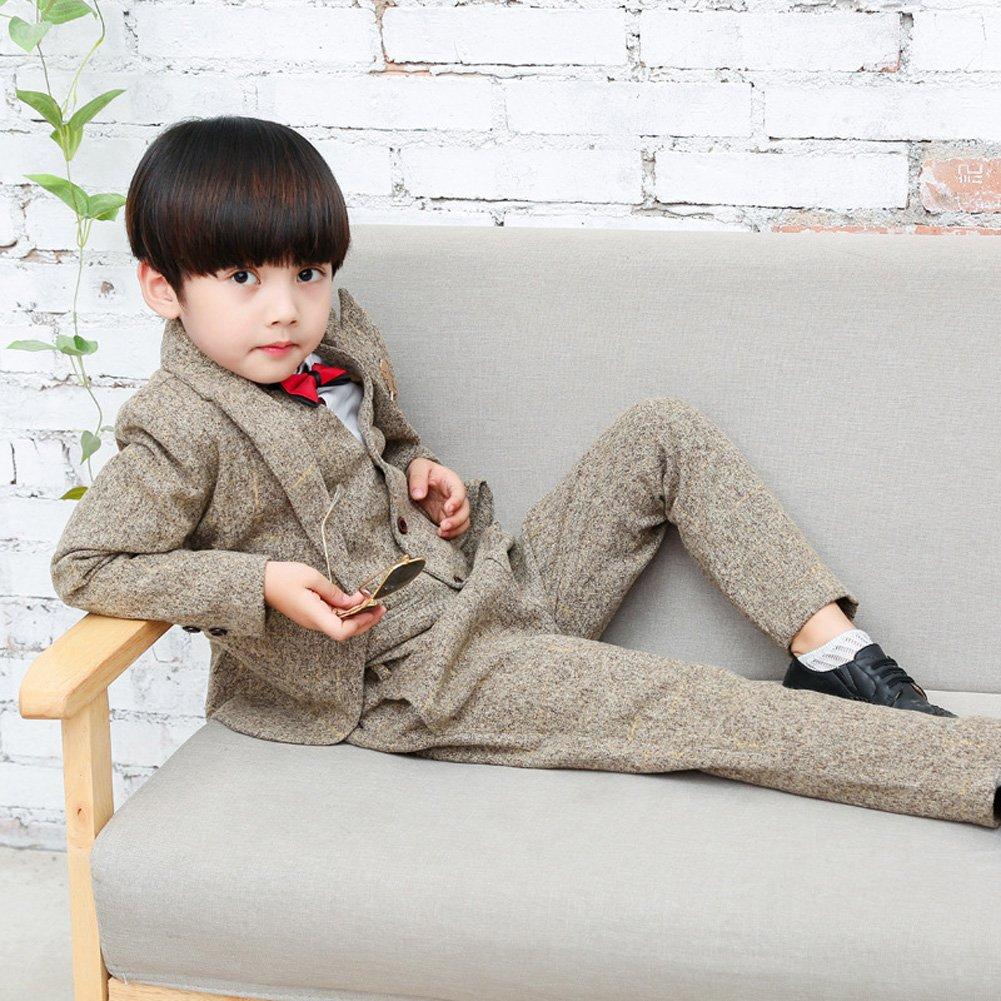 5PCS Little Boy Gentleman Suit Formal Wear Coat Shirt Vest Pants Outfit Set