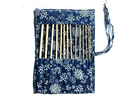 DeliaWinterfel 14 Agujas de Ganchillo 34cm/14 de bambú Afgano con Estuche - Kit de artensanía de Madera by