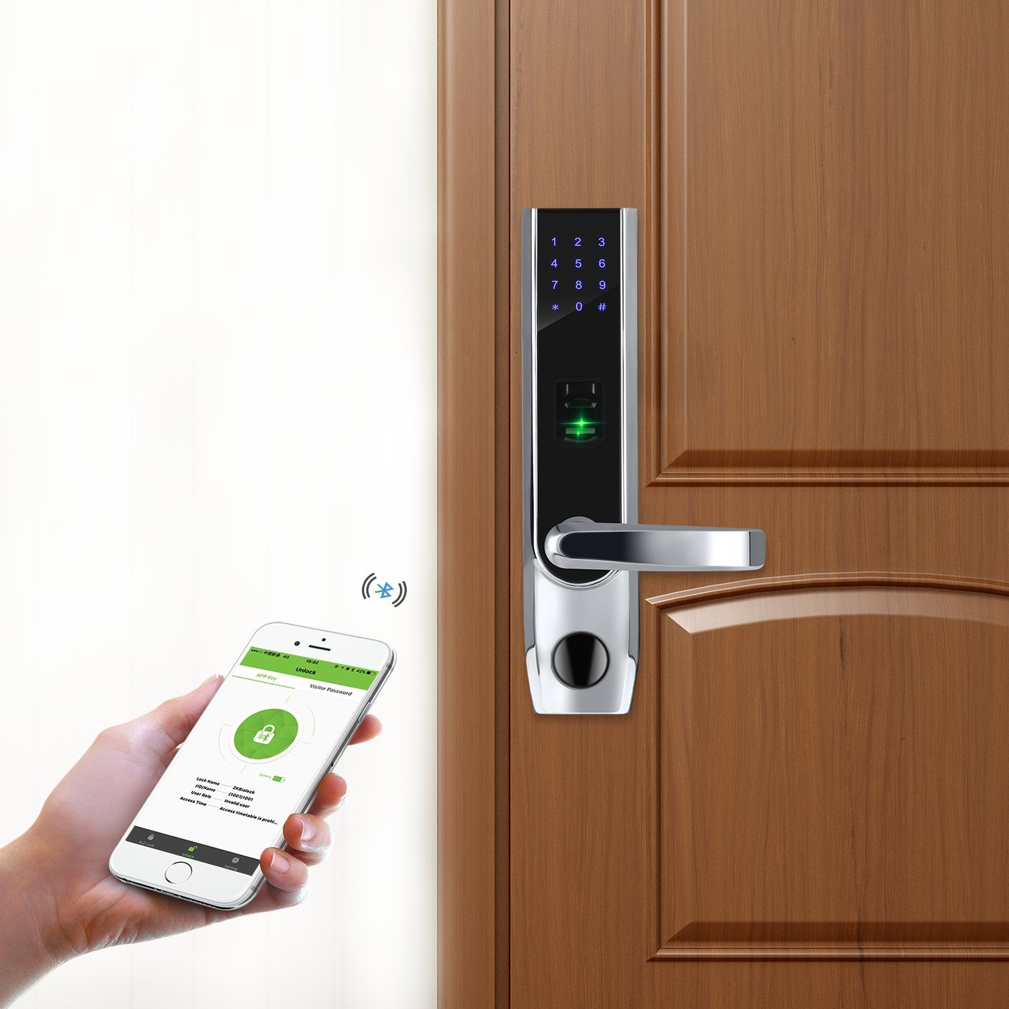 ZKTeco Fingerprint Biometric Bluetooth Smart Door Lock Digital Keyless  Keypad Code Locks+ 5pcs RFID Cards,Right Handed