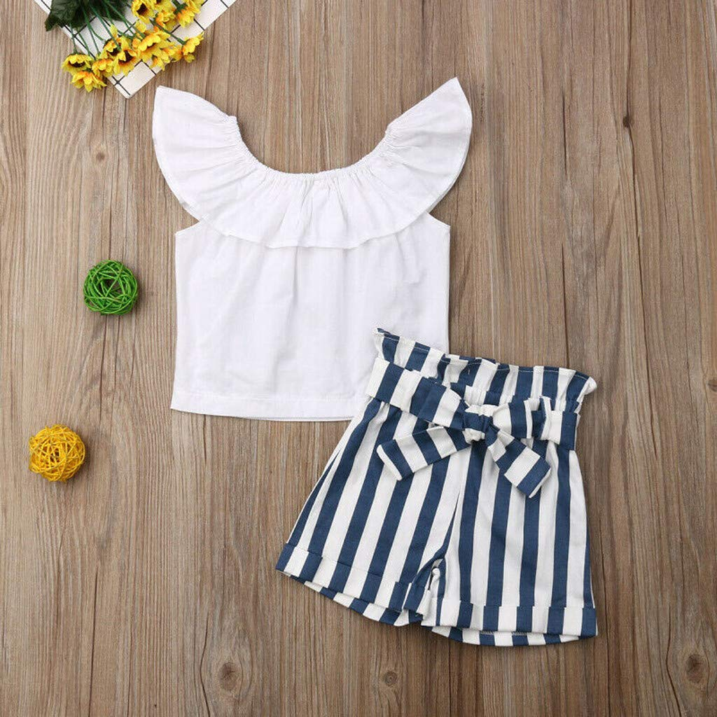 Baby Girl Off-Shoulder Sets, Kids Crop Top Ruffle Shirt Tops +Leopard Striped Shorts Pants Clothes Set (2-3 Years, Blue) by Hopwin Baby girls Suits (Image #3)