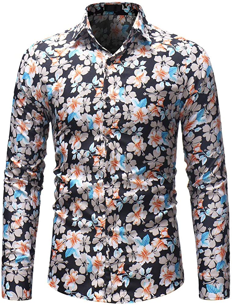 Moda Hombre OtoñO Invierno Estampado De Flores BotóN De Manga Larga Camisa Blusa Top: Amazon.es: Ropa y accesorios