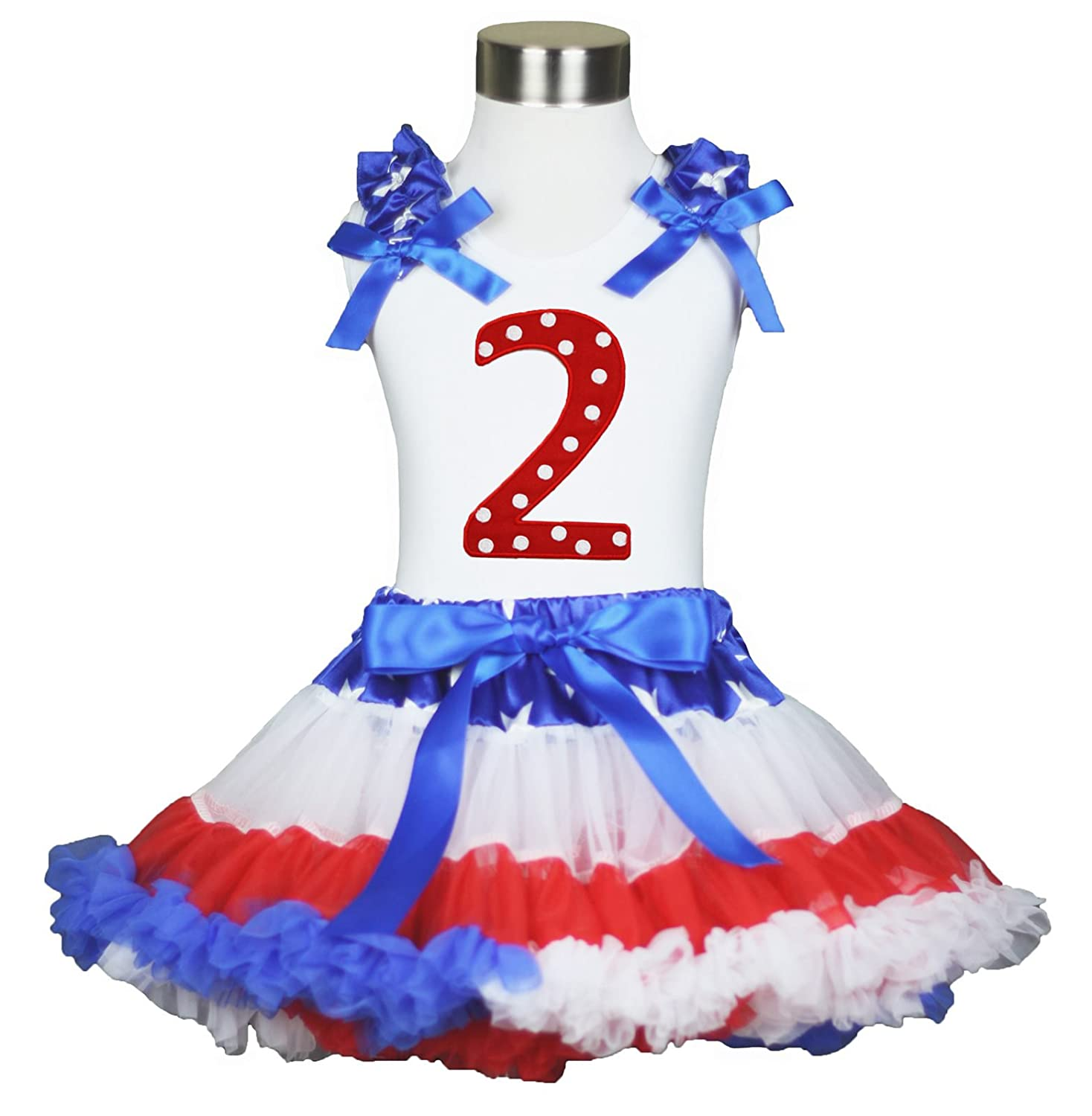 Royal Blue Pettiskirt /& Red White Blue Cupcake Top 1-8Y