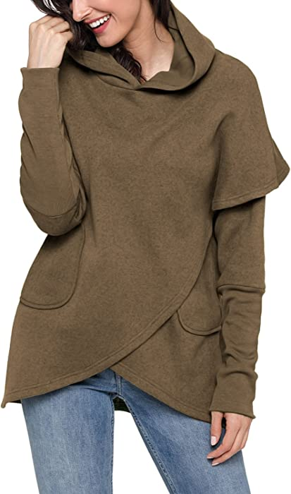 4c3fc38ea708 Podlily Women s Casual Long Sleeve Hooded Sweatshirt Wrapped Girls Pullover  Hoodies Pocket Shitrs Tops Small Brown