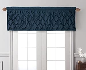 "VCNY Home Tailored Valance Window Treatment Rod Pocket : Elegant Pintuck Design, Casual Weight Luxurious Dacron in Navy Blue ; Valance Measures 60"" X 20"""