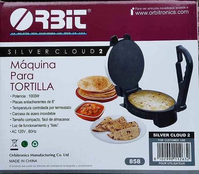 Orbit Silver Cloud 2 Tortilla Maker with Temperature Control, 8