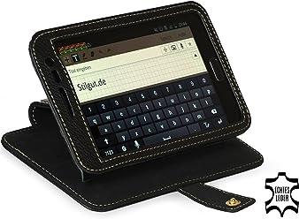 StilGut Housse en cuir exclusive avec fonction de support et de présentation pour Samsung Galaxy Note N7000, Noir