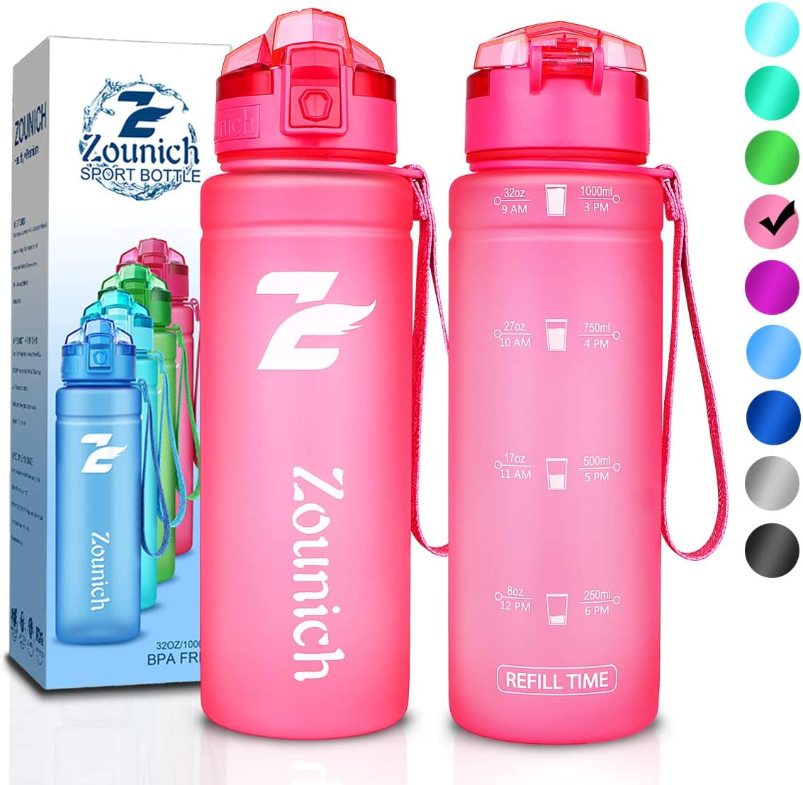 ZOUNICH Premium Motivational Water Bottle with Time Marker - 40 oz, 32 oz/1 Liter, 24 oz, 16 oz, Kids Water Bottle Sports Water Bottle BPA Free Leak Proof & Lockable Lid