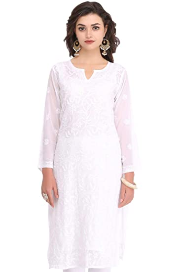 70eebb2f64 ADA Faux Georgette Lucknowi Chikan Hand Embroidered Regular Fit KurtI for  Women, Small (A90397